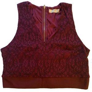 Elodie Medium Lace Zip Sleeveless Crop Top